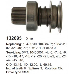 130465c_=ZN101243=09-60-96=1.01.243.0 !Бендикс Opel Kadett 1.6 86-91, Astra 1.4 (14 NV,C 14 SE)