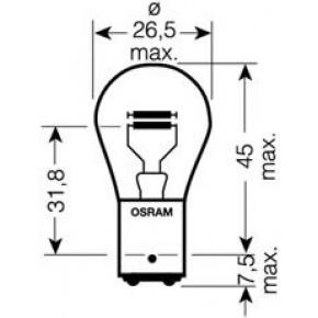 12V 21W BAY15D, 2-конт, Белая  Лампа OSRAM ЦОКОЛЬ 2-КОНТАКТ БОЛЬШАЯ арт.7528